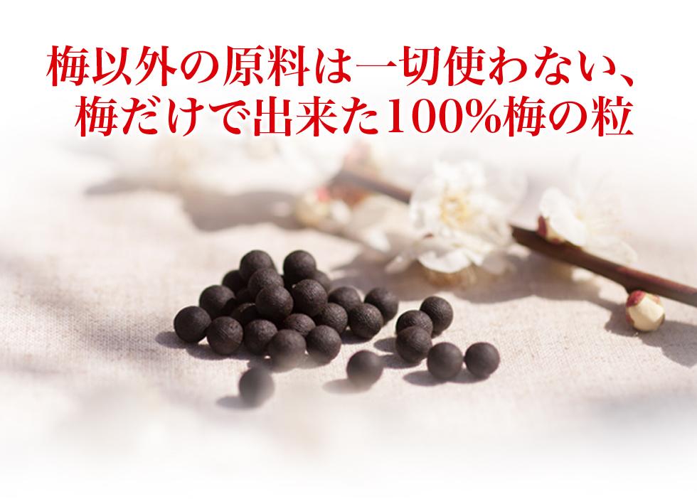 梅以外の原料は一切使わない、梅だけで出来た100%梅の粒